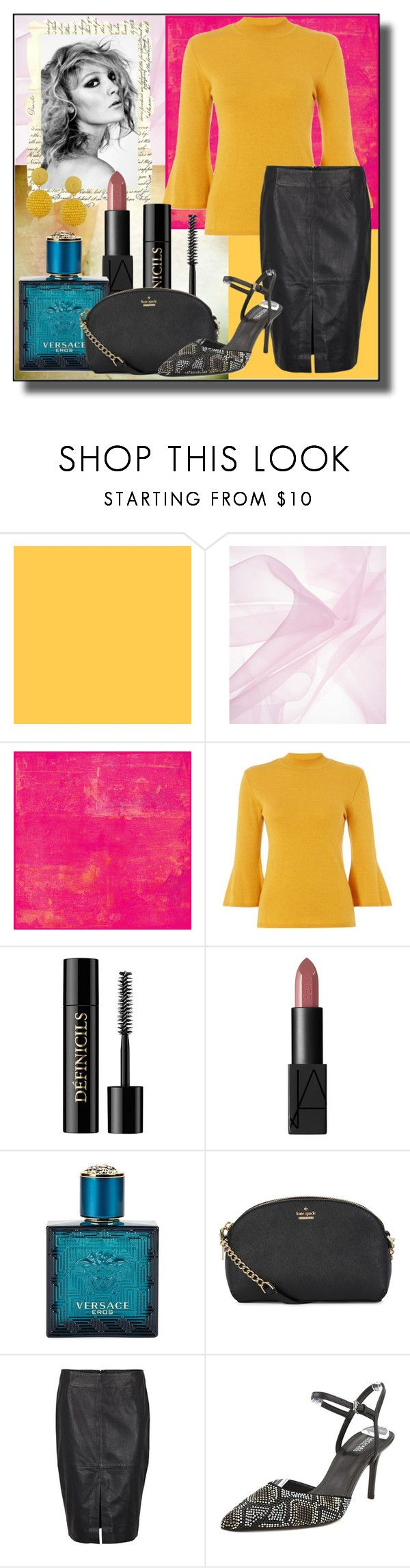 """Leather Skirt Style"" by veronica-h ❤ liked on Polyvore featuring Biba, Lancôme, Versace, Kate Spade, MICHAEL Michael Kors, Humble Chic, Leather, Heels, bag and jumper"