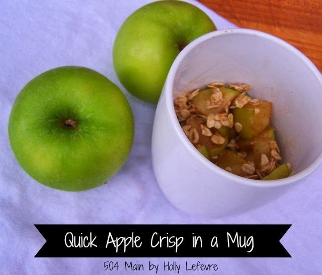 Quick Apple Crisp in a Mug by 504 Main:Just a few ingredients and you have a quick and healthy dessert!