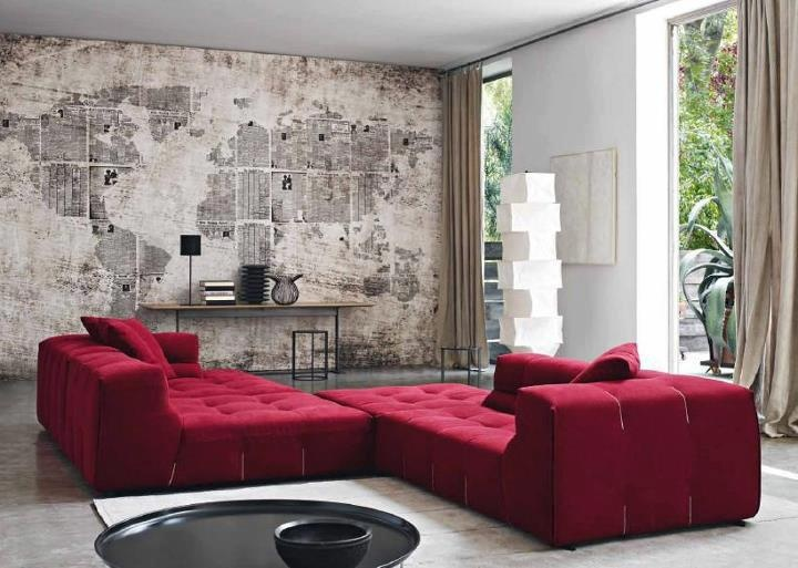 Amazing Sofa With Latest Designs : Surprising Red White Living Room Design  With World Map Wallpapers And Fantastic Red Chaise Lounge Sofas Design ... Part 83