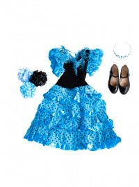 Spaanse Jurk Pakket Señorita Blauw/Zwart + GRATIS Haarband + GRATIS Bloem