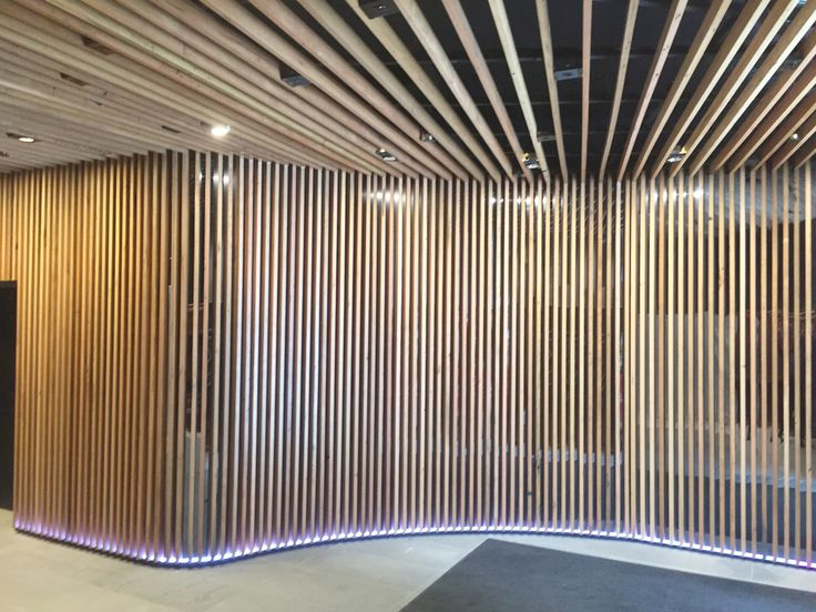 wwww.decorsystems.com.au - DecorSlat wall and ceiling made from 100% recycled timber by Decor Systems at 340 Adelaide St., Brisbane.  #recycledtimber #timberslat #decorsystems #decor #decorslat #timberwalls #timberceiling