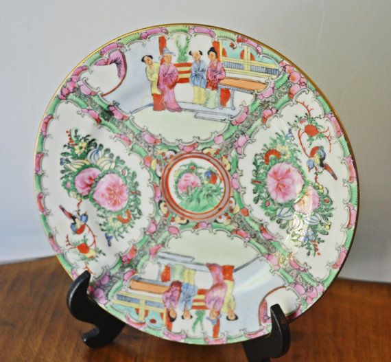 Asian Plate Chinese Hand Painted Enameled Plate by Collectitorium