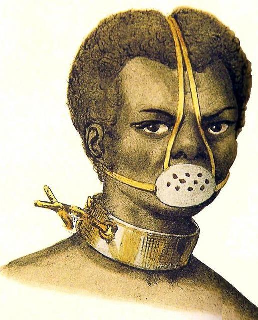 Castigo de Escravos, Jacques Etienne Arago - século XIX Máscra de Flandres