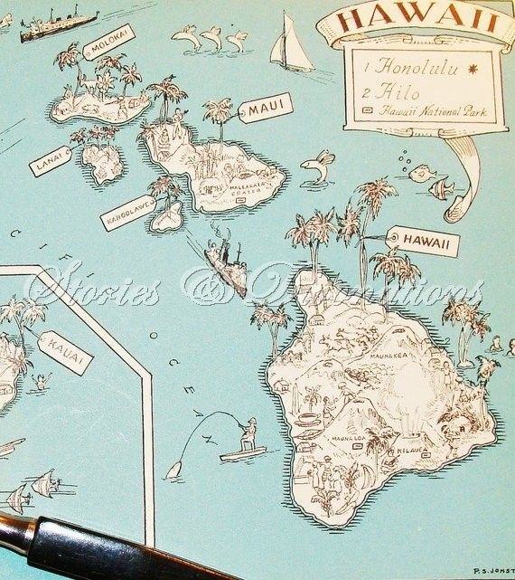 Hawaii  Vintage Maps  1930s State Picture by StoriesDivinations, $21.00