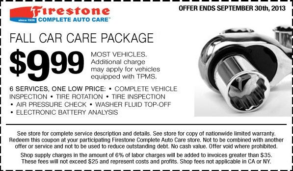 Firestone is known for providing great service on tire changes and repair, but some locations offer full-service features like oil changes, alignment and battery replacement. Save at Firestone when you use a coupon! Firestone offers discounts on common services .