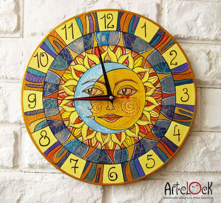 Sun and Moon Playroom, Sun, Moon, Modern wall clock with numbers, Yellow wall clock, wood clock, Yellow home decor, wedding gift, office by ArtClock on Etsy https://www.etsy.com/listing/100165721/sun-and-moon-playroom-sun-moon-modern