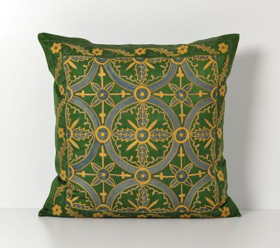 Suzani Pillow Green Hand Embroidery Decorative by pillowme, $150.00