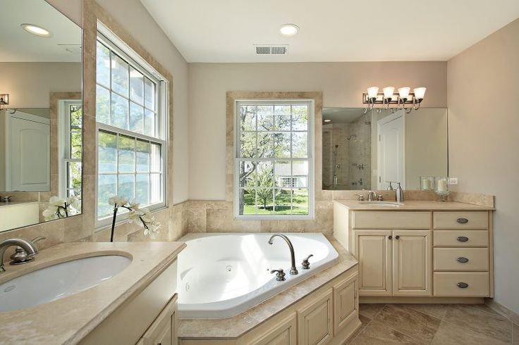 Large Frameless Mirrors With White Cream Wooden Vanity Storages In Captivating Bathroom Remodel