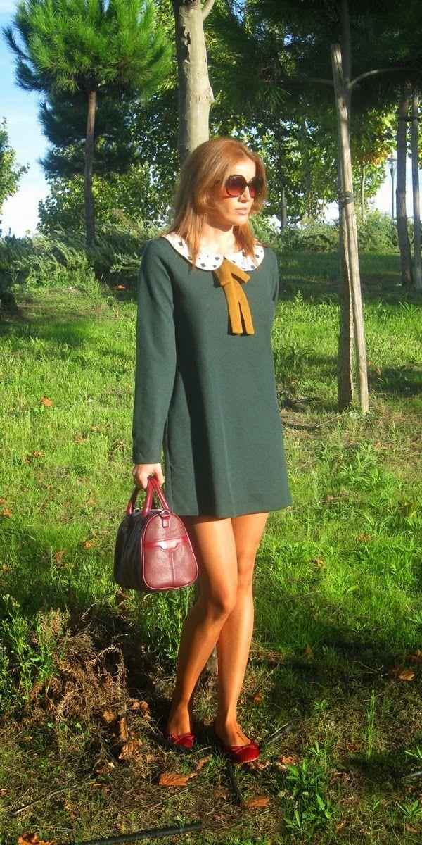 PETER PAN NECK DRESS 30-10-2014  Vestido: Kling. Cazadora: Stradivarius. Bailarinas: Oysho.