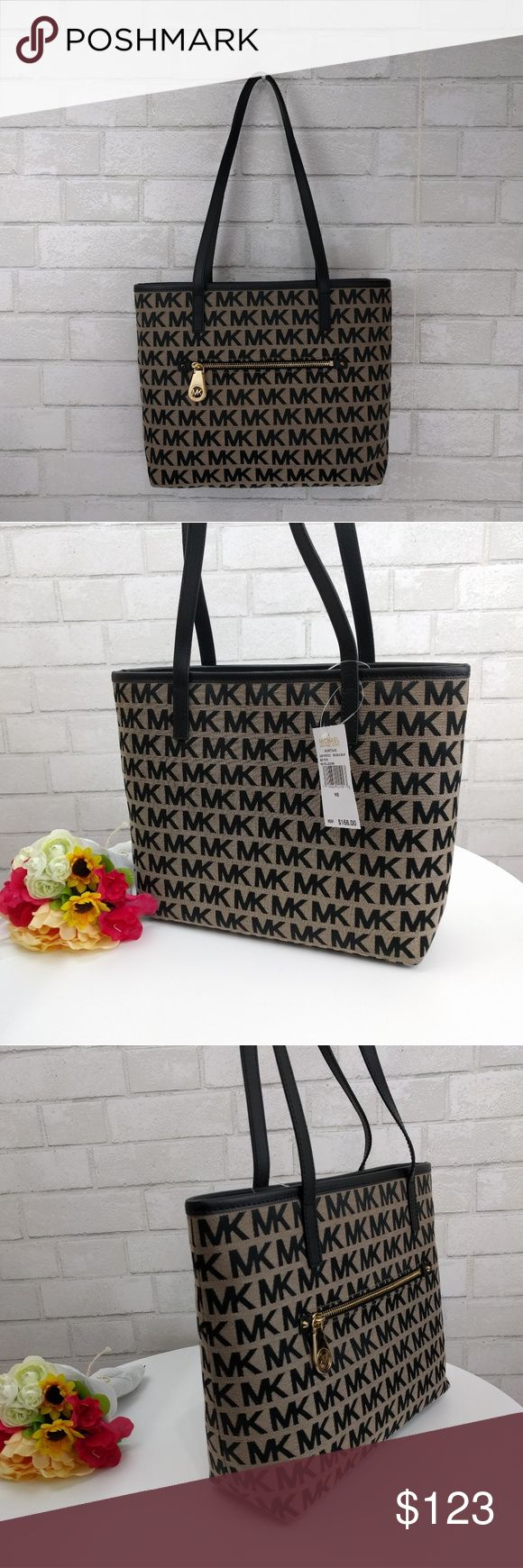 "NWT Michael Kors Signature Beige Montauk Tote 100% Authentic. Comes with Michael Kors care card.   Montauk Beige Black Medium Tote 12"" W X 10""H X 4""D Strap drop 11"" Zipper outside Inside has 2 sleeves, zipper pocket and cellphone pocket Zipper closure Material is stain and water resistant MRSP $168  FAST SHIPPER Pet and smoke free home Michael Kors Bags"