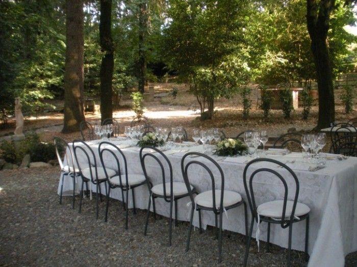 tables in the park at Fattoria del Colle
