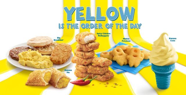 McDonald's Singapore  Despicable Me 3 menu | New Minion Potatoes - Mashed potatoes shaped like Minions and fried to a golden crisp. Spicy Chicken McNuggets, Banana Pie, Banana cone, Big Breakfast and Hotcakes with Sausage