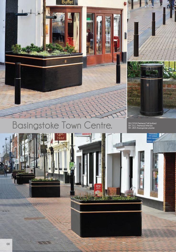 Basingstoke Town Centre Street Furniture, combining litter bins, planters and bollards.