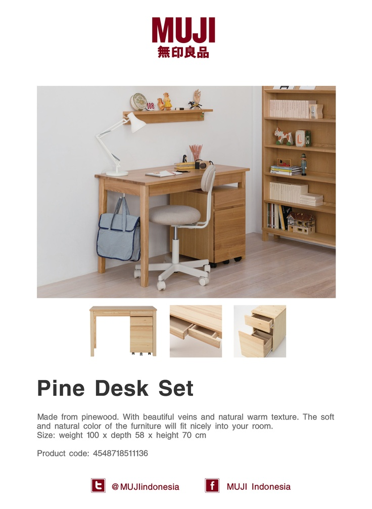 Made from pinewood... The soft and natural color of the desk will fit nicely into your room. :)