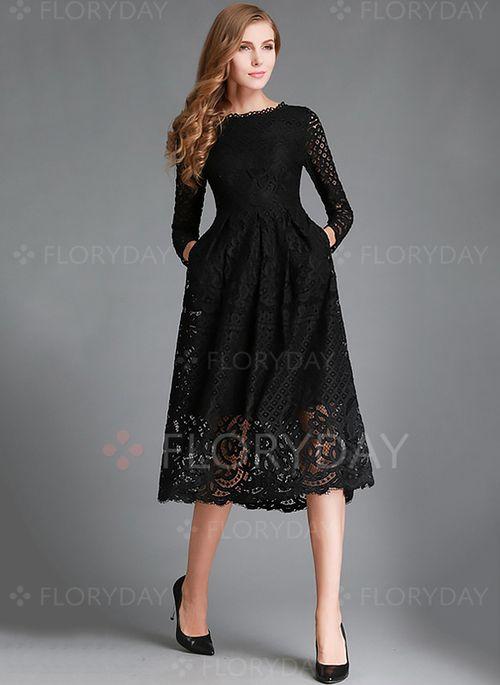Dresses - $43.59 - Lace Solid Long Sleeve Mid-Calf Vintage Dresses (1955100118)