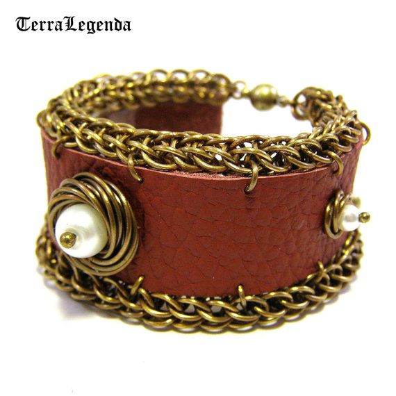 Claret red leather bracelet, unique chainmaille jewelry with brass and white beads