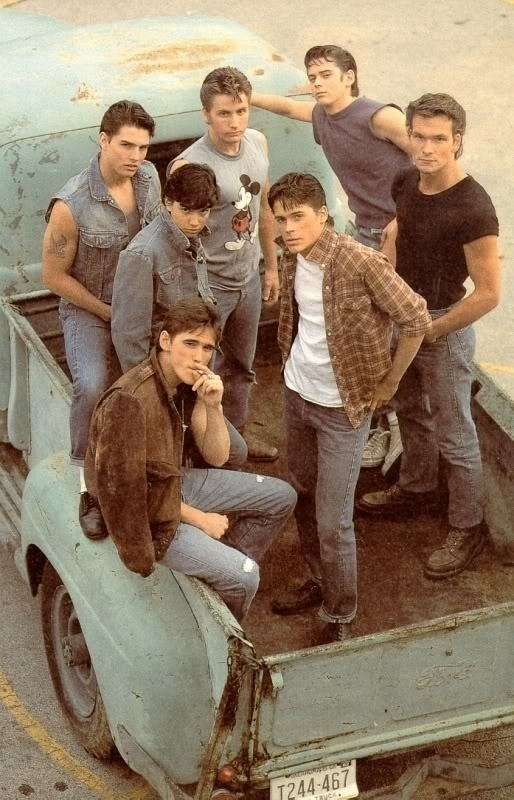 The Outsiders - Darry, SodaPop,and Ponyboy Curtis, Johnny Cade, Dally Winston, and Two-Bit Matthews...Love the book and movie!!!