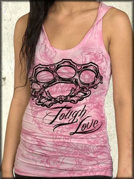 Rock Rebel Clothing - Rebel Spirit Tough Love Brass Knuckles Flowers Crown Filigree Women's Racerback Tank Top Hoodie Shirt in Pink Ash Wash