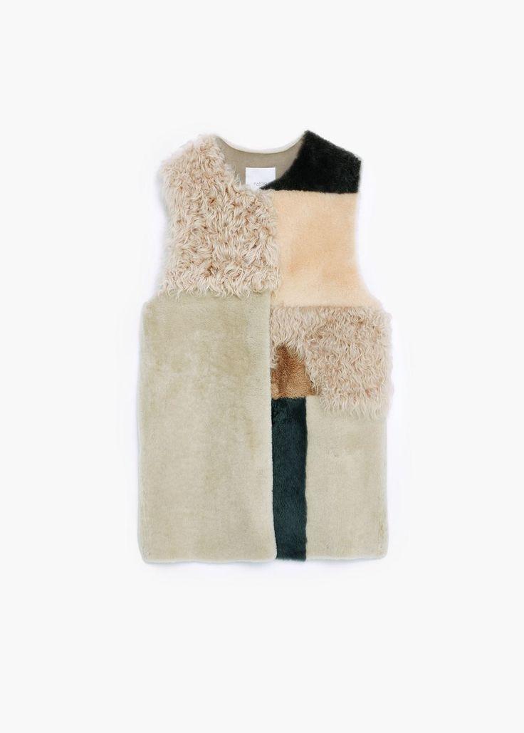 Premium - colete pele patchwork - Casacos de Mulher | MANGO