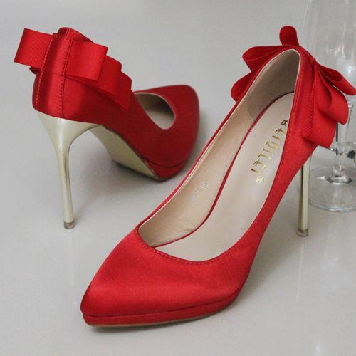 chaussures de soirée femme escarpin rouge à talons hauts aiguille en satin escarpin pas cher ornée noeud à boucles
