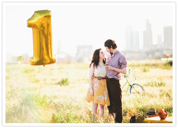 First anniversary photo shoots are always better with number balloons!