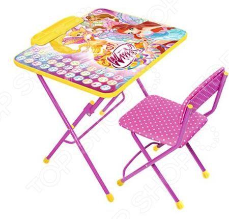 Ника «Азбука» 581189  — 1767р. --------------------------------- Набор мебели детский Ника Азбука 581189 станет отличным приобретением для вашего малыша и прекрасно впишется в интерьер детской комнаты. В комплект входит столик и стульчик с мягким сидением. Мебель складная, снабжена подставками для ног и пластиковыми наконечниками, защищающими напольные покрытия от трещин и царапин. На столешницу нанесен русский алфавит и яркий рисунок с изображением волшебниц Винкс. Набор многофункционален…