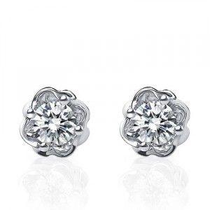 Half Carat Diamond Stud Earrings on 10K White Gold