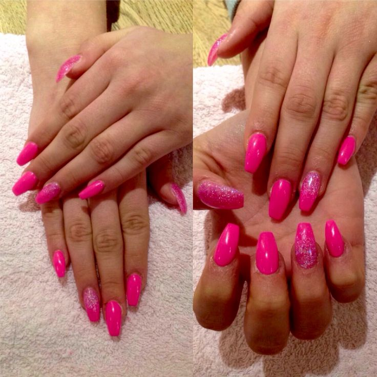 Pink acrylic nails with glitter fade