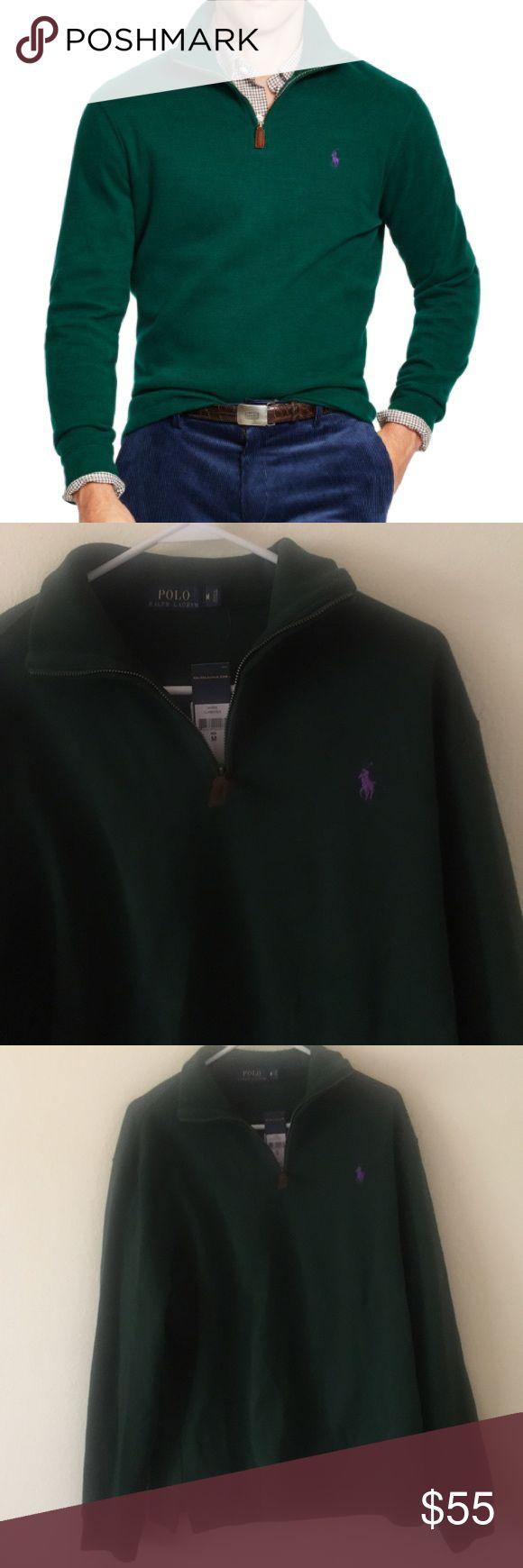 NWT Men's Ralph Lauren Green half zip pullover New with tags men's Ralph Lauren dark green half zip pullover Lauren Ralph Lauren Sweaters