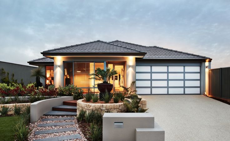 The Bardot Elevation features a modern rendered facade, tiled roof and stylish benchmark door