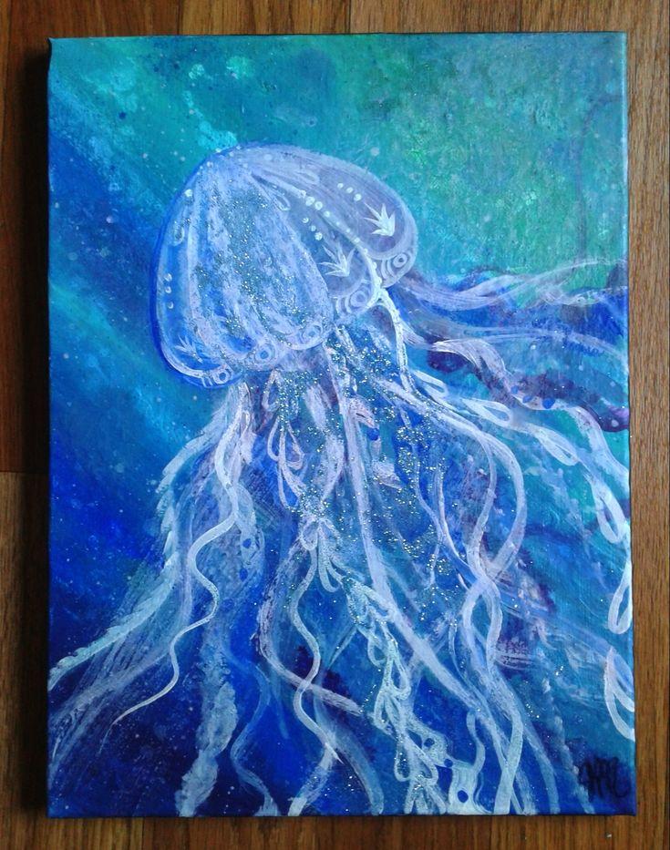 Boho Jellyfish painting. Acrylic on canvas ~