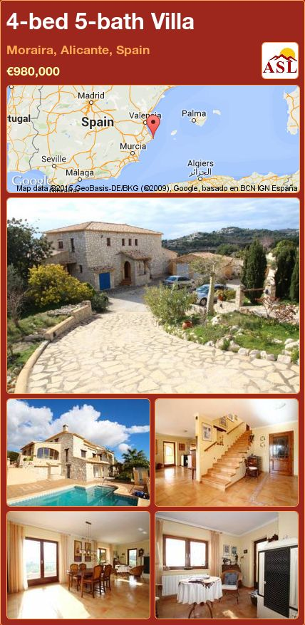 4-bed 5-bath Villa in Moraira, Alicante, Spain ►€980,000 #PropertyForSaleInSpain