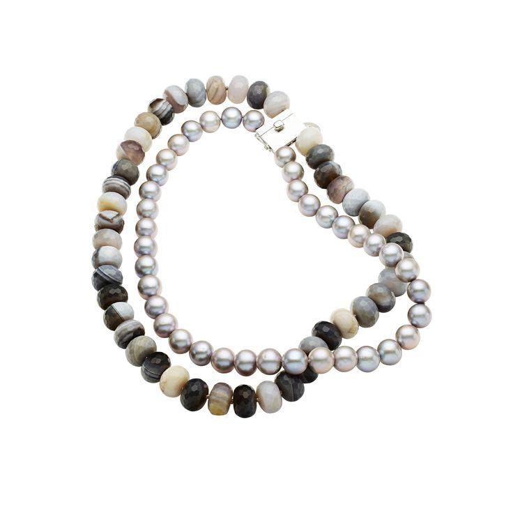 Jan Logan Botswana Agate & Pearl necklace