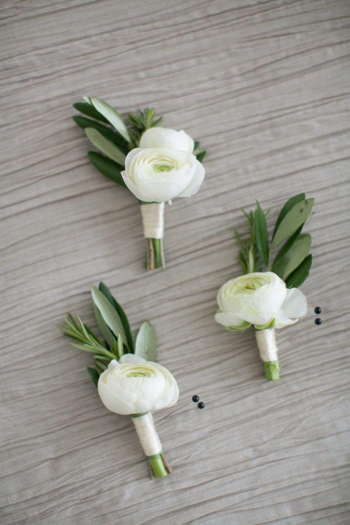 Galleria Marchetti Chicago Wedding: White Ranunculus & olive boutonniere