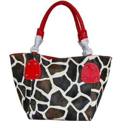 Red Large Vicky Giraffe Print Faux Leather Satchel BagRed Large, Prints Faux, Leather Satchel, Giraffes Prints, Handbags Purses, Large Vicky, Faux Leather, Satchel Bags, Bags Handbags