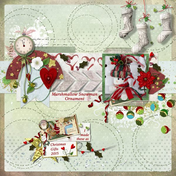 This is for Kotare's Art Journal 2016 #50 Challenge.  I used One Squared Template by Meryl Bartho, Christmas From The Heart 1, and Christmas From The Heart 2 both by Elizabeth's Market Cross.