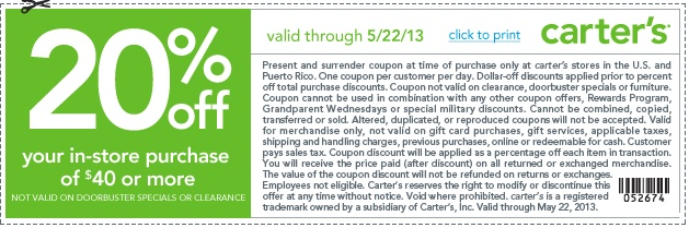 Carters Printable Coupon to save 20% OFF of $40 or more, this month at any Carters Store