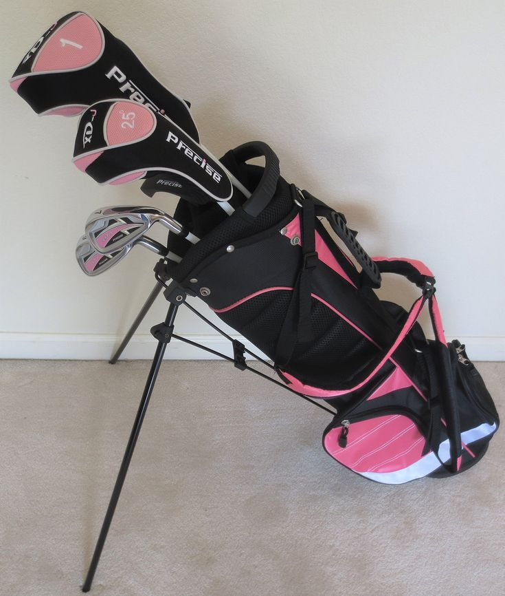 """Girls Junior Golf Club Set with Stand Bag for Kids Ages 8-12 Pink Color Right Handed. Premium Girls Right handed Junior Golf Set. Driver, Hybrid, Iron, Putter, All Graphite Shafts & Stand Bag. Specifically Made for Girls 4'4"""" - 5'0"""" Tall (Ages 8-12)."""