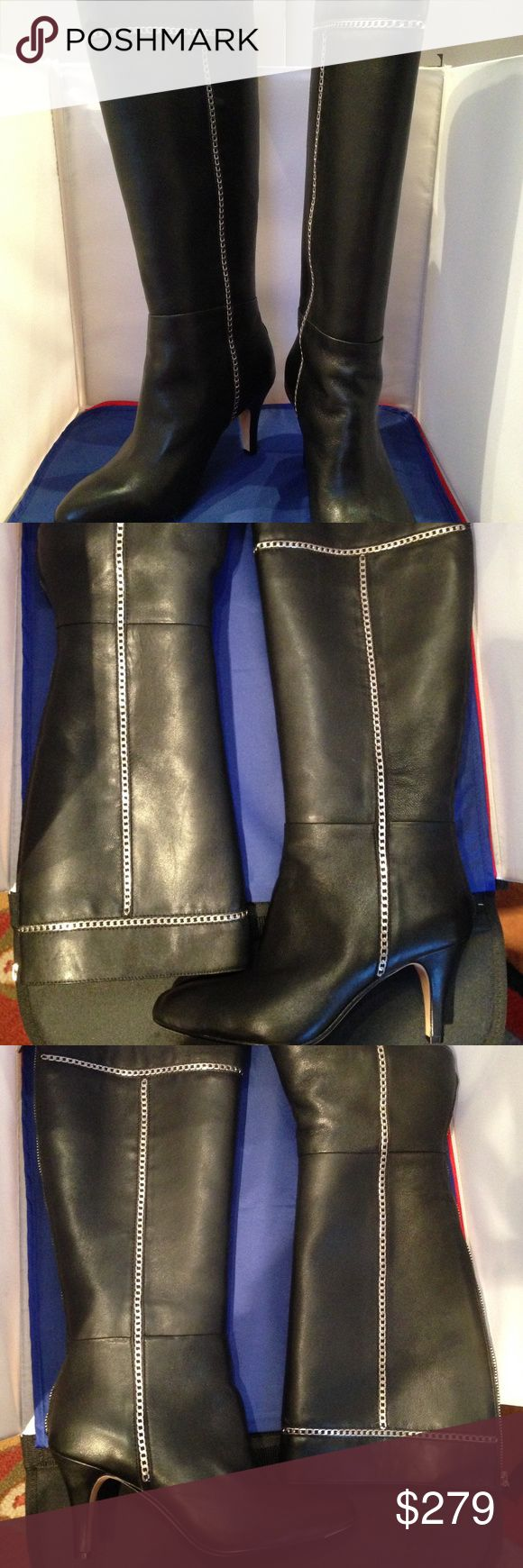 """Taryn RoseTreyes Chain-Trim Leather Boot, Black Soft napa leather boot w chain-link trim. 3"""" covered heel; 14""""H shaft; 14.3"""" circ. Back zip for ease of dress. Poron®-cushioned footbed. Rubber sole for traction. """"Treyes"""" is imported. New In Box.  Orthopedic surgeon Taryn Rose began her footwear company in 1997, after years of research on foot pain resulting from ill-fitting shoes. Rose's clinical experience & sense of style combine to create footwear ergonomically designed for a comfortable…"""