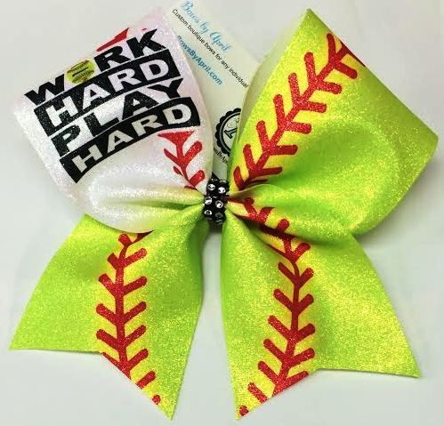 Bows by April - Work Hard Play Hard Glitter Softball Bow, $15.00 (http://www.bowsbyapril.com/work-hard-play-hard-glitter-softball-bow/)