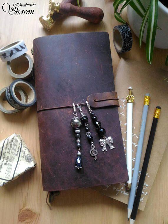 Black planner charm traveler's notebook charm midori