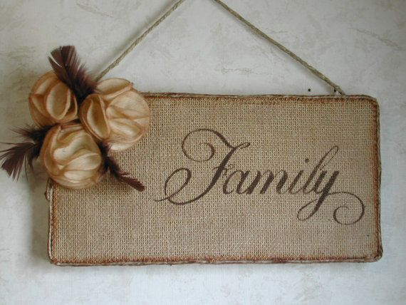 burlap family wall hanging vintage
