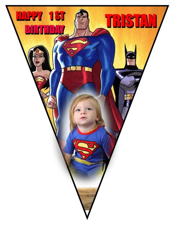 Superhero Printed Banner, Superman, Party Supplies, Birthday, Superhero