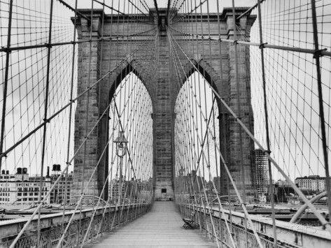 Pedestrian Walkway on the Brooklyn Bridge Valokuvavedos