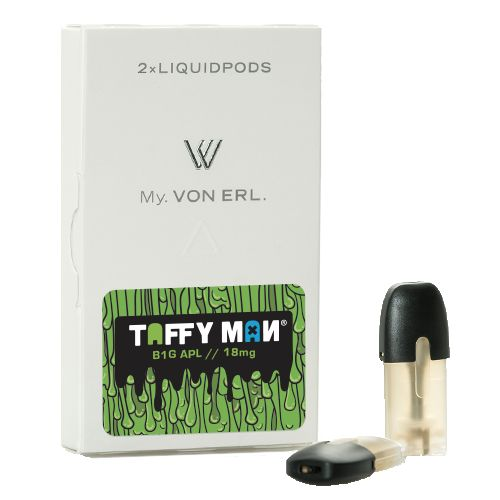 Taffy Man E-Liquid B1G APL My. Von Erl Liquidpods (2-Pack) - B1G APL: a perfectly balanced sweet and sour green apple taffy candy.2-Pack of ePods for use with the My. Von Erl LiquidPod VaporizerVon Erl creates a new category in the vaping market with its new My. Von Erl. The great vaping performance of an e-cigarette combined with the modern design of a cigalike. The 350 mAh battery guarantees a great vaping performance. The My. Von Erl Liquidpods (eJuice) for this e-cigarette give you an…