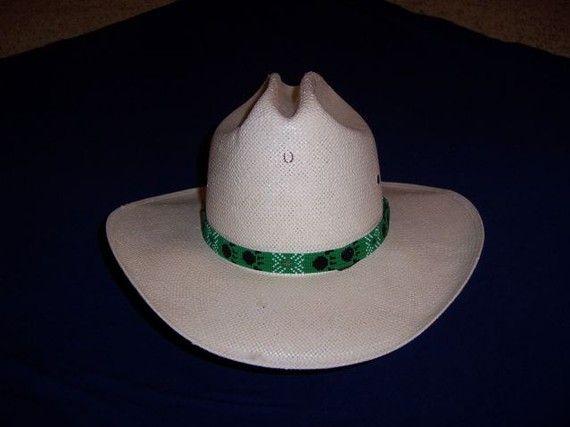 Make Beaded Hat Bands | Bear claw beaded green and black cowboy hat band