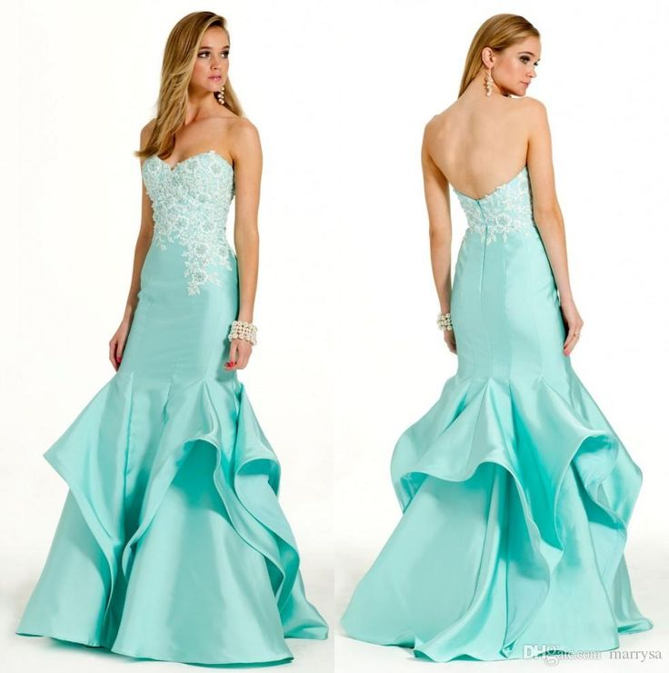 2016 Turquoise Satin Ruffles Mermaid Prom Dresses Sweetheart Neck White Lace Applique Long Custom Made Evening Party Gowns Sexy Back Casual Prom Dresses Coast Prom Dresses From Marrysa, $124.36| Dhgate.Com