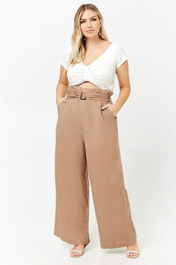 abe3b34b9b Forever 21 Plus Size Belted Paperbag Pants White Wide Leg Trousers, White  Pants, Khaki