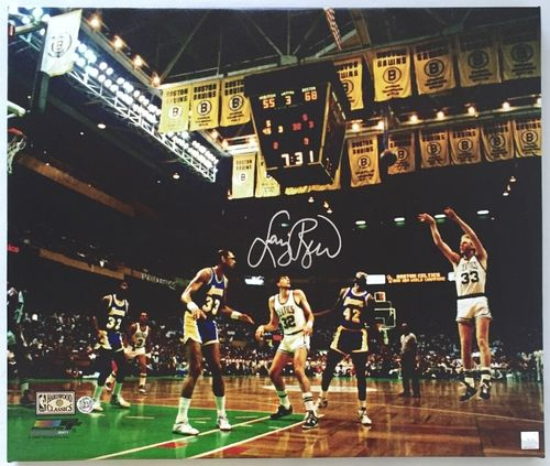 Larry Bird Signed and Stretched 20x24 Boston Celtics Canvas JSA + Bird Holo