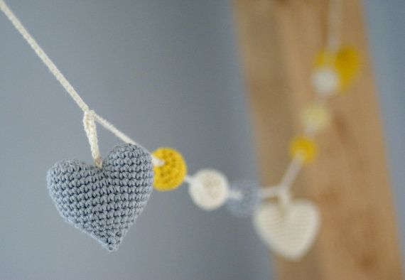Crochet Heart Garland: yellow/grey/ivory -Birthday Party Decor - Nursery/Baby Shower-Warm Wedding Garland-Home decor